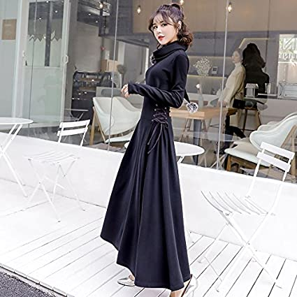 Gaolim Robe Longue Petite Robe Noire Robe Longue A Manches Longues D Hiver Femme Epaisse Hiver S Noir Amazon Fr Sports Et Loisirs