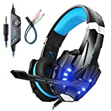 Mengshen Gaming Headset for PS4/ Xbox one/ Xbox One S/ PC/ Mac/ Laptop/ Cell Phone - Gaming Headphone with Mic, LED Light, Bass Surround, Noise Cancelling, Soft Earmuffs, G9000 Blue