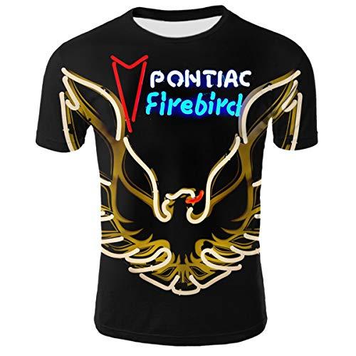 (3D Print Pontiac Trans Am Firebird Logo Short Sleeve T-Shirt Casual Tee Adult Youth Unisex (L))