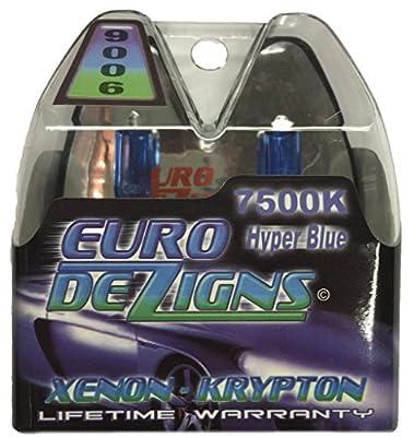 EuroDezigns 9006 White/Blue Headlights - Low Beam 7500k Xenon-Krypton HID Halogen Replacement Bulbs - (Pair)