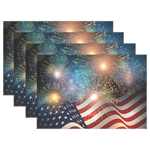Naanle United States Flag Fireworks USA Independence Day Fourth of July Placemats Set of 4 Washable Table Mat for Kitchen Dining Table 12 X 18 Inches Place Mats