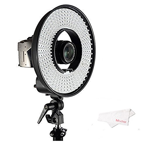 Falcon Eyes DVR-300DVC Dimmable 300-LED Ring Panel Video Light with 3000-7000K Color Temperature