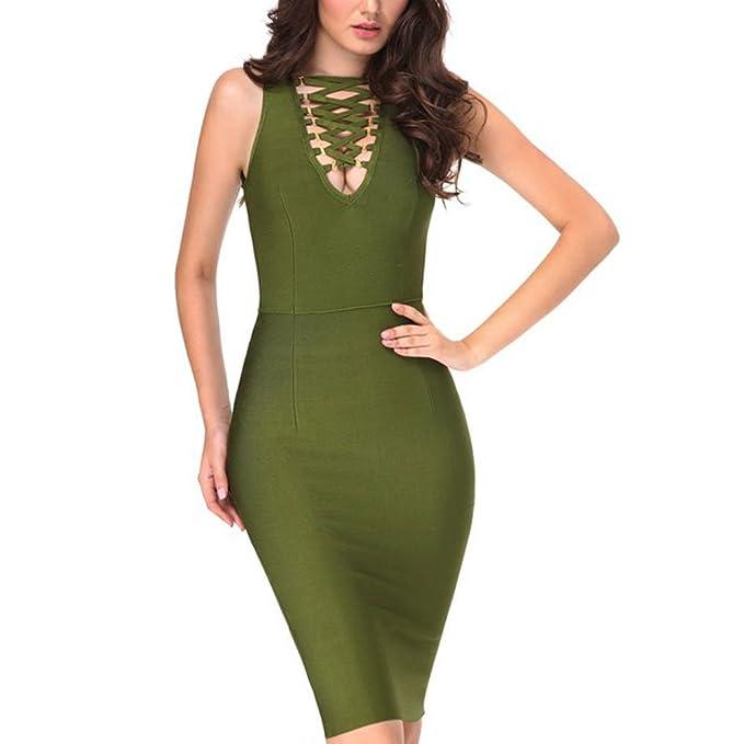 HLBandage Sleeveless Cross V Neck Knee Length Bandage Dress(XS,Turquesa)