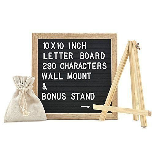 Black Felt Letter Board Message Board 10 by 10 with 340 White Changeable Letters and Emoji Made from Recyclable Plastic Oak Frame Large Pieces Hanging Sign with Stand and Canvas ()