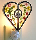 Mom Heart Night Light - Night Light Designs - Glass Heart with Pressed Flowers and Engraved Mom Charm - Stained Glass Night Light