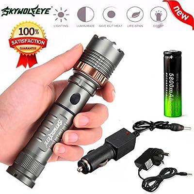 10principales 2000lumens tactique lampe de poche, 5modes d'éclairage lumineux mise au point réglable étanche à main Portable Camping lumière pour la pêche chasse rand