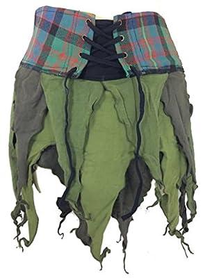 Genuine Scottish Tartan Designer Pixie Kilt Steam Punk Psytrance Skirt W8 Green