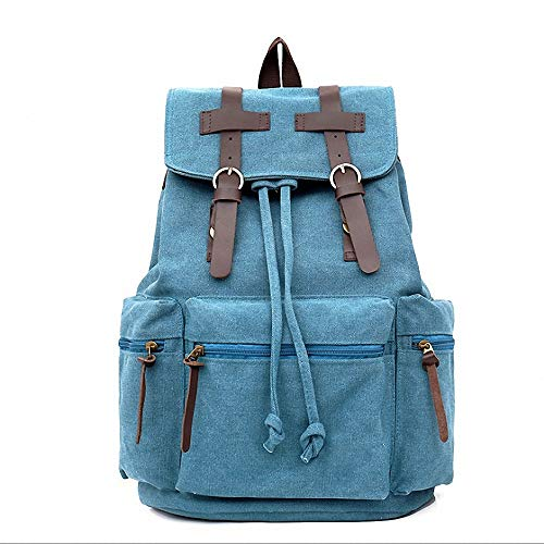 DeAlex Designer Canvas School Backpack 2018 Edition Classic Double Buckle Straps, Adjustable Comfort Large Storage Space, Zippered Pockets Travel, Hiking, Gym Use Turquoise