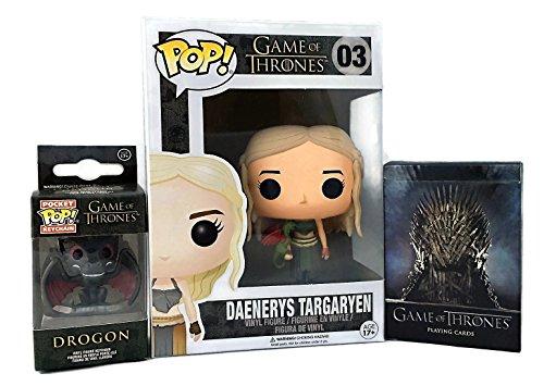 Daenerys POP & Drogon Keychain by Funko Bundled w/ GOT Season 1 Playing Cards