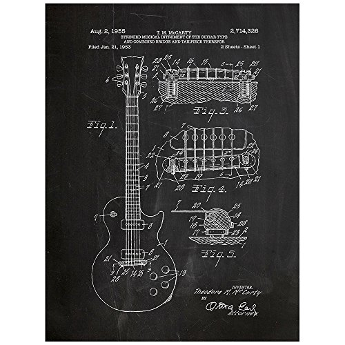inked-and-screened-gibson-les-paul-guitar-design-patent-art-poster-18-x-24-silk-screen-print-chalkbo