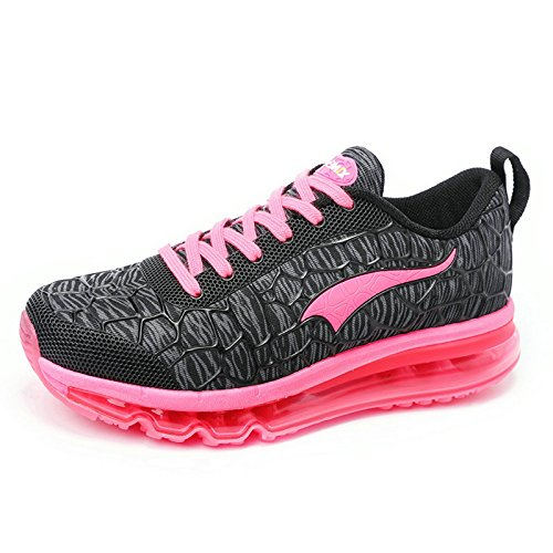 Onemix Women's Air Cushion Running Shoes Lightweight Walking Jogging Gym Outdoor Exercise Drive Athletic Sneakers Black Red Size 7