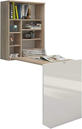 Selsey Function Bureau Rabattable Noir Mat//Noir Brillant 60 x 71 x 75 cm