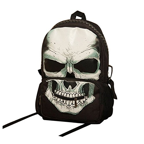Unisex Large Capacity Pirate Skull Punk Canvas Backpack for sale  Delivered anywhere in USA