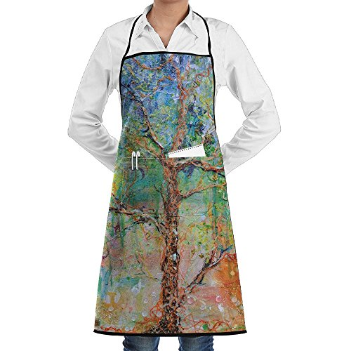 (Phylogenetic Tree Art Apron Lace Adult Mens Womens Chef Adjustable Polyester Long Full Black Cooking Kitchen Aprons Bib With Pockets For Restaurant Baking Crafting Gardening BBQ Grill)