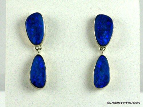 Blue Boulder Opal Earrings in Sterling Silver 925. Handmade lightweight post earrings. Overall length 1 3/8 inch