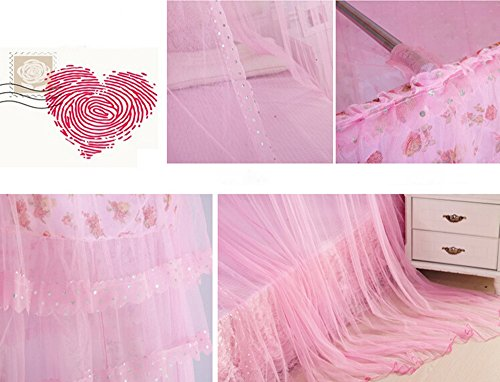 XDOBO New Style French Court Lace Dome Canopy Netting Mosquito Net Beautiful Curtain (Pink)