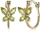 18k Yellow Gold-Plated Sterling Silver Peridot Butterfly Hoop Earrings