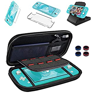 9 in 1 Accessories Compatible with Nintendo Switch Lite, Protective Portable Hard Shell Carrying Case with 8 Game Card Slots, Clear Case, Play Stand,Four Thumb Grip Set