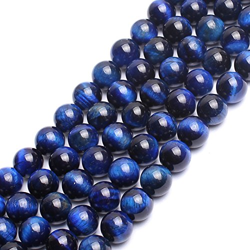 (AAA Blue Tiger Eye Gemstone Round Loose Beads for Jewelry Making Findings Accessories 15 inches (8mm))