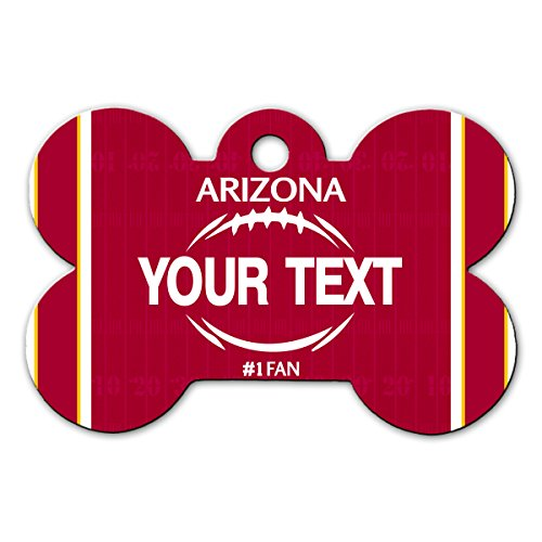 BleuReign(TM) Personalized Custom Name Football Arizona License Plate Bone Shaped Metal Pet ID Tag with Contact Information