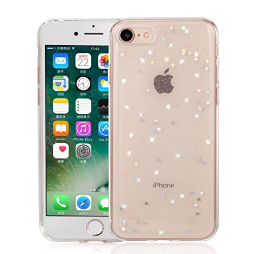QLTYPRI Silicone Case for iPhone 7 Plus, Shining Bling Star Design Crystal Clear Case Ultra Slim Shockproof Transparent Soft TPU Protective Cover for iPhone 7 Plus - Clear