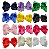 #1: QtGirl 12pcs 8 Inches Hair Bows for Girls Large Grosgrain Ribbon Boutique Hair Bow Clips for Teens Kids Toddlers Children