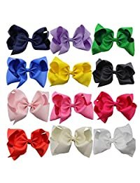"""QtGirl 12 Pieces 8"""" Solid Color Jumbo Boutique Hair Bow With Clip"""