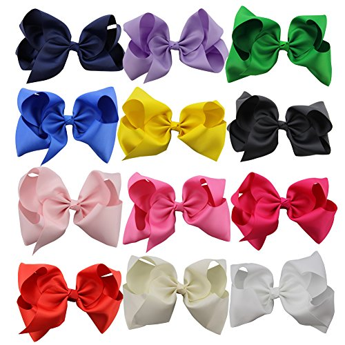 Price comparison product image QtGirl 12pcs 8 Inches Hair Bows for Girls Large Grosgrain Ribbon Boutique Hair Bow Clips for Teens Kids Toddlers Children