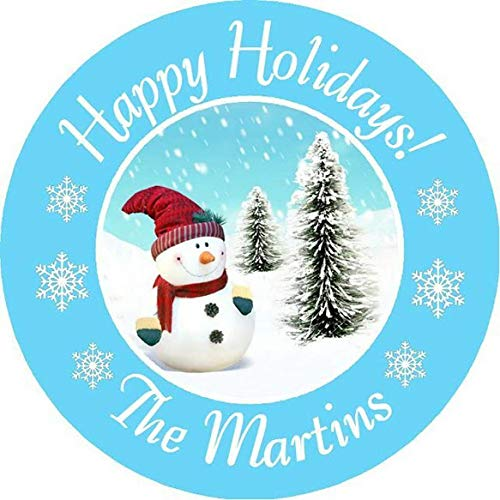 CHRISTMAS SNOWMAN PERSONALIZED ROUND PARTY STICKERS FAVORS ~ VARIOUS SIZES