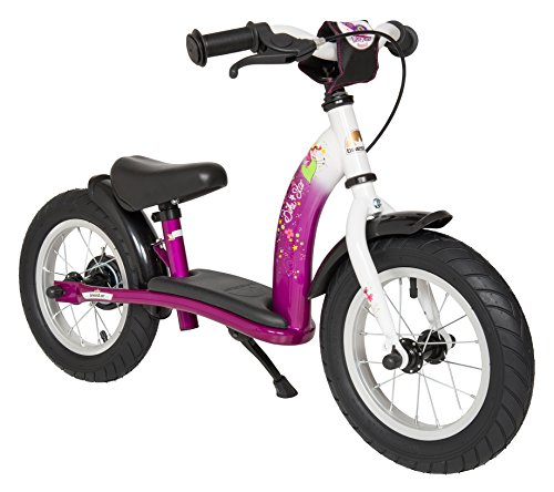 BIKESTAR Original Safety Lightweight Kids First Balance Running Bike with brakes and with air tires for age 3 year old girls | 12 Inch Classic Edition | Bewitching Berry & Diamond White