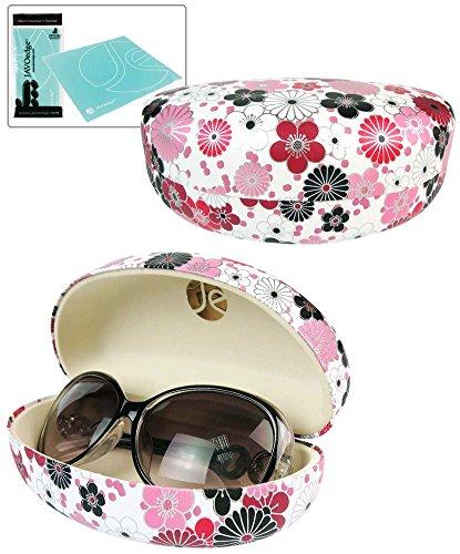 JAVOedge Red Japanese Blossom Pattern Hard Clamshell Sunglass Case / Eyeglass Case and Bonus Microfiber Cleaning Cloth
