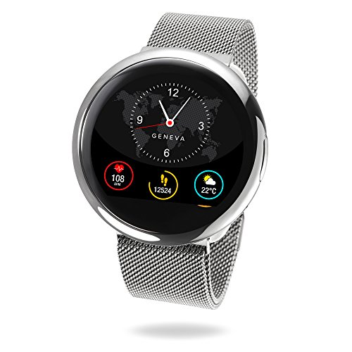 MyKronoz ZeRound2 HR Elite Smartwatch with Heart Rate Monitoring and Smart Notifications, Swiss Design, iOS and Android - Shiny Silver / Milanese Silver by MyKronoz