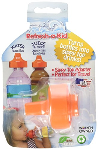 Spout Adapter Turns Water Bottles into Sippy Cups, Bottled Water for Toddlers and Babies On-The-Go by Refresh-A-Baby, Orange