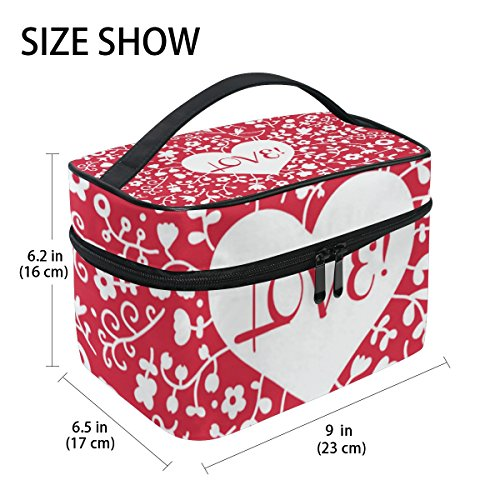 U LIFE Valentines Day Birthday Red Heart Love You Summer Spring Wedding Floral Flowers Travel Cosmetic Makeup Toiletry Storage Bags Boxes Cases Organizers by ALAZA