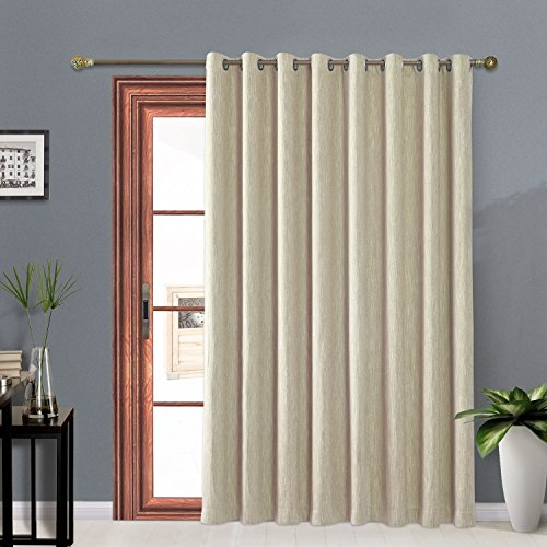 - Melodieux Texture Cotton Wide Blackout Thermal Insulated Grommet Top Curtains for Sliding Glass Door, 100 by 96 Inch, Beige (1 Panel)