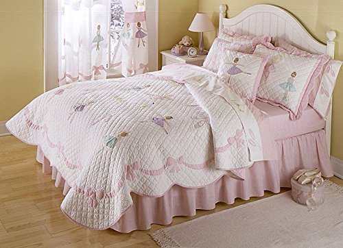 3 Piece Girls Light Pink Ballerina Theme Quilt Full Queen Set, Pretty Girly All Over Ballet Dance Lessons Bedding, Beautiful Cute Fun Dancing Dancer Bordered Bow Themed Pattern, Rose Pale