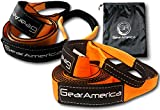 "Heavy Duty Tow Strap 3""x20' + Tree Saver Winch Strap 3""x8' Value Bundle (Lab Tested 31,541lb Strength) 