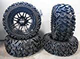 Bundle - 9 Items: ITP SS316 14'' Wheels Black Ops 26'' Rip Saw Tires [4x137 Bolt Pattern 12mmx1.25 Lug Kit]