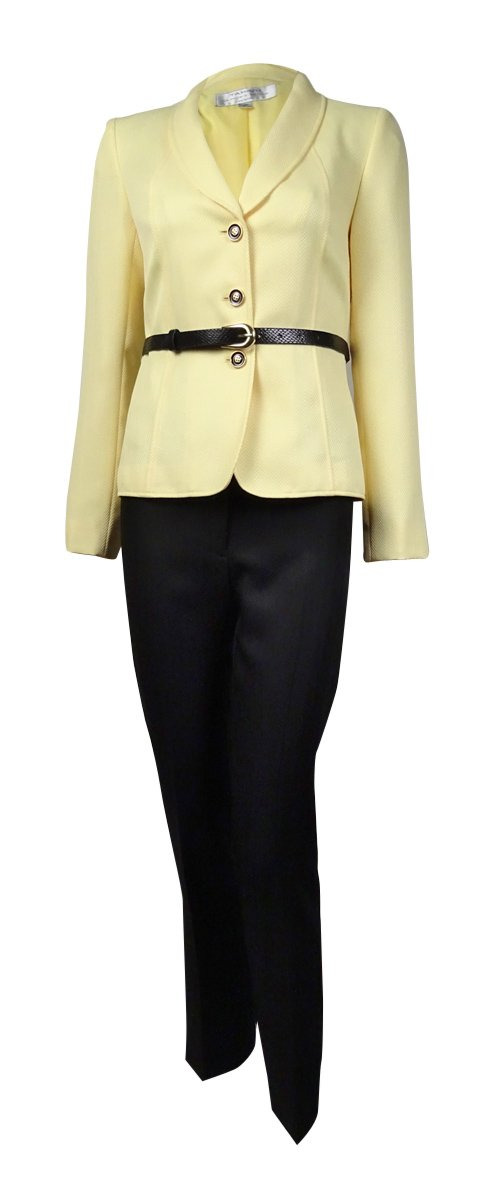 Tahari ASL Womens Petites Harry Herringbone 2PC Pant Suit Yellow 0P