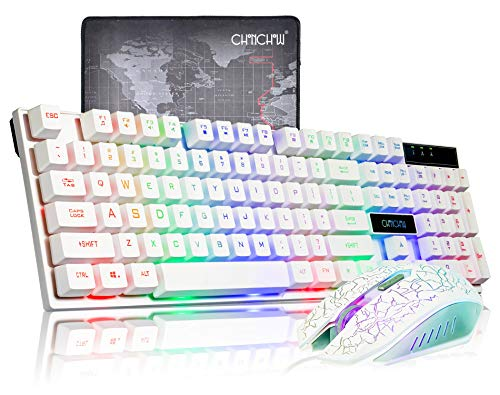 - CHONCHOW Gaming Wired Backlit Keyboard Mouse Combo LED Illuminated Letter 19 Anti-Ghost Keys White Opptical Mice Compatible iMac Laptop Computer Smart Tv(1910W)