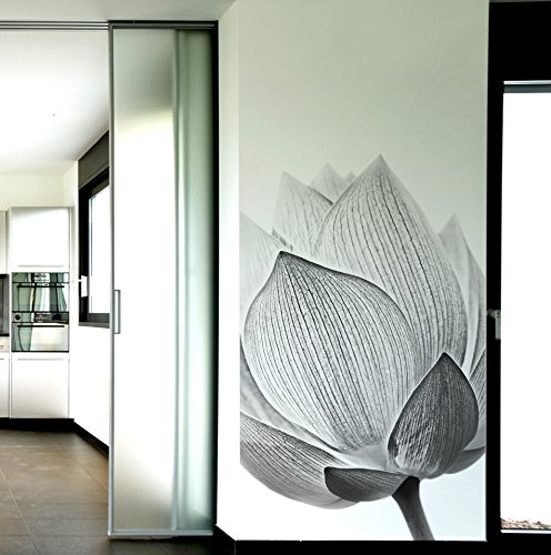 Stickerbrand Large Black and White Lotus Flower Wall Mural for the Bedroom, Bathroom, Living Room, Dinning Room, Office. 9ft Tall X 4ft Wide. (4' Mural)