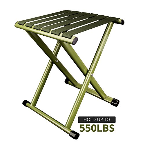 TRIPLE TREE Portable Folding Stool, Heavy Duty Outdoor Folding Chair Hold Up To 550 LBS 1 Pack,Unfold Size: 11.9x10.9 x 14.4 inch (LxWxH) by TRIPLE TREE