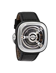 Seven Friday Men's M-Series 47mm Black Leather Band Steel Case Automatic Multicolor Dial Watch M1-03