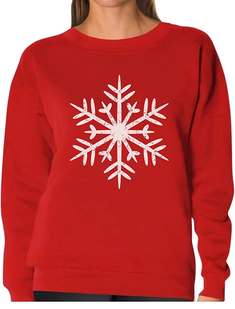 Big White Snowflakes Xmas Women Sweatshirt GM0Zhlg8
