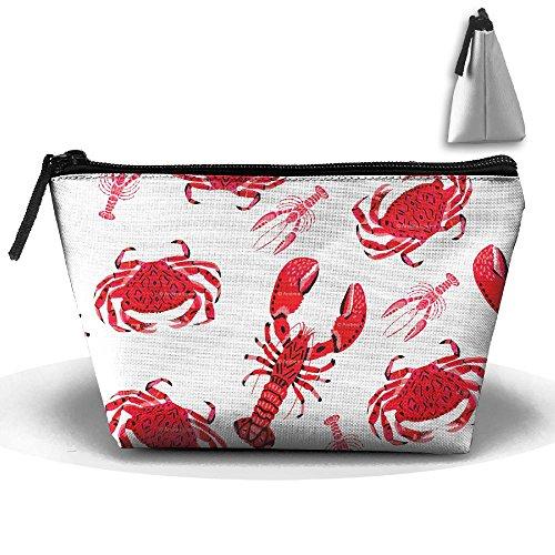 Trapezoidal Bag Makeup Bag Long Crab Storage Portable Travel Wash Tote Zipper Wallet Handbag Carry (Evelyn Tote)