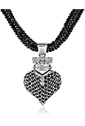 King Baby Black Spinel Necklace with Large 3D Pave Black Cubic-Zirconia Crowned Heart