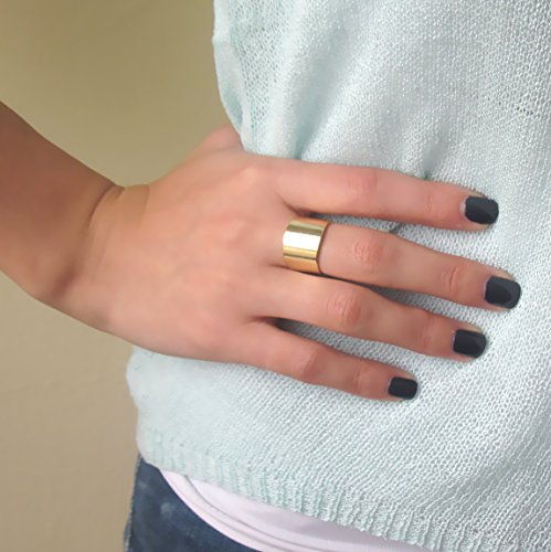 Wide Gold Plated Adjustable Band Ring, Fashion Gold Plated Cuff ()