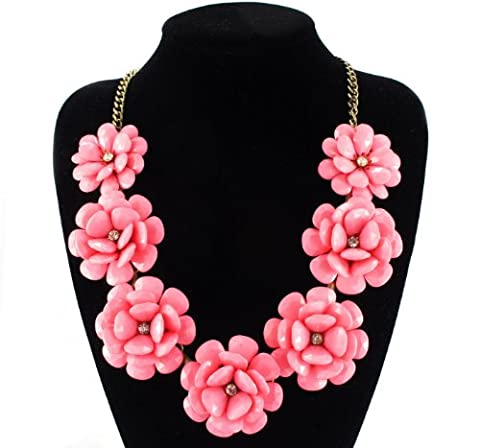 Fit&wit Color Golden Plated Chain 7 Flowers Statement Fashion Flower Necklace Light Pink (Light Wit Stand)