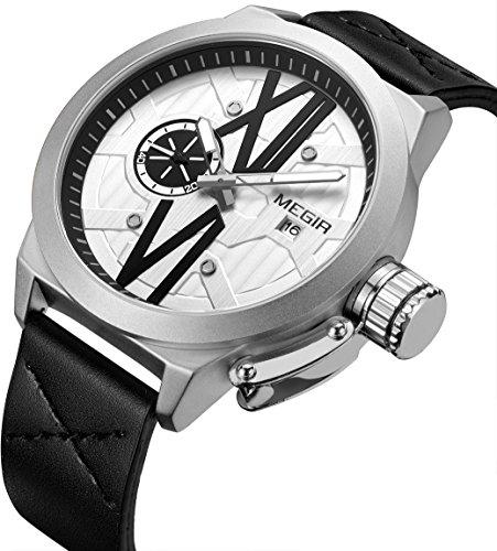 Black Dial Casual Watch (Men's Watch Black Leather Big Dial Quartz Casual Watch)