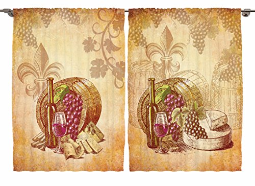Ambesonne Tuscany Country Decor Collection, French Vintage Winery Barrels and Grapes, Window Treatments for Kitchen